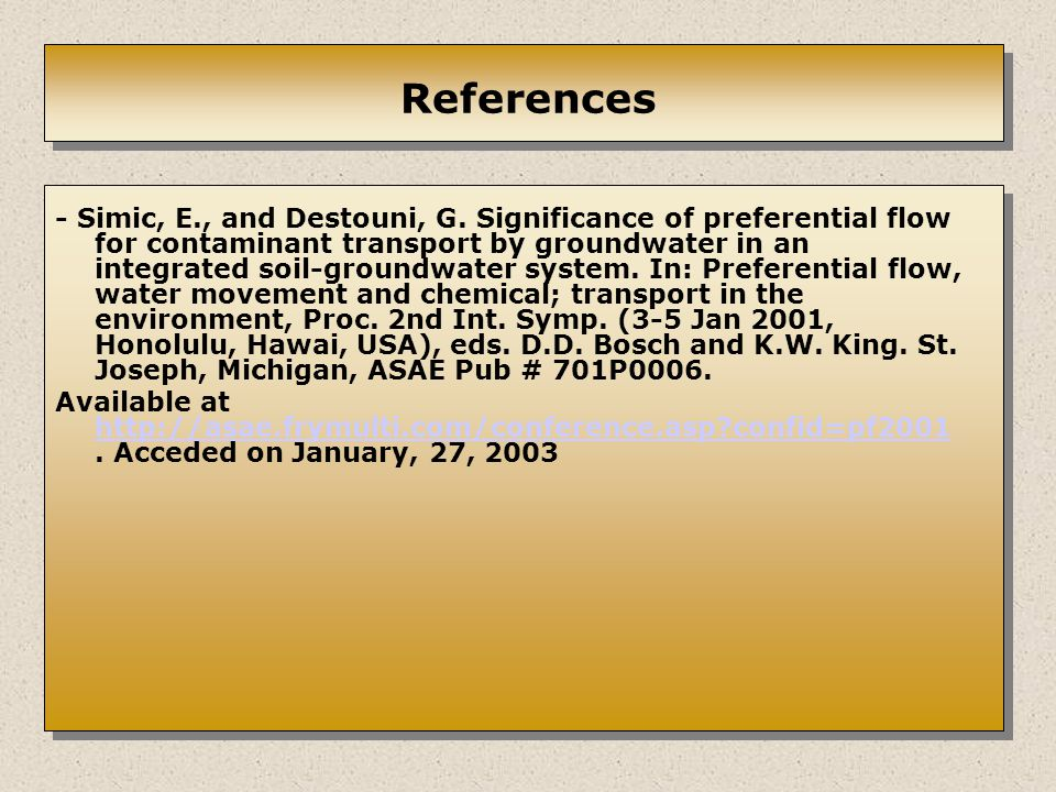 References - Simic, E., and Destouni, G.