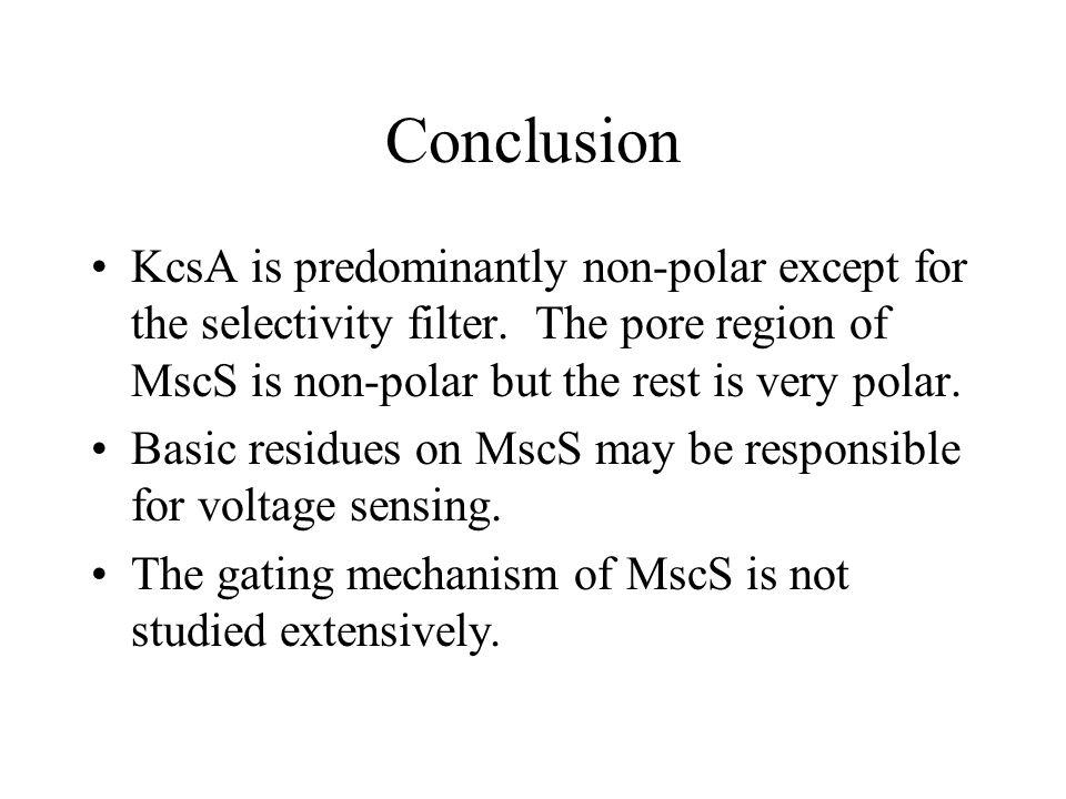 Conclusion KcsA is predominantly non-polar except for the selectivity filter.