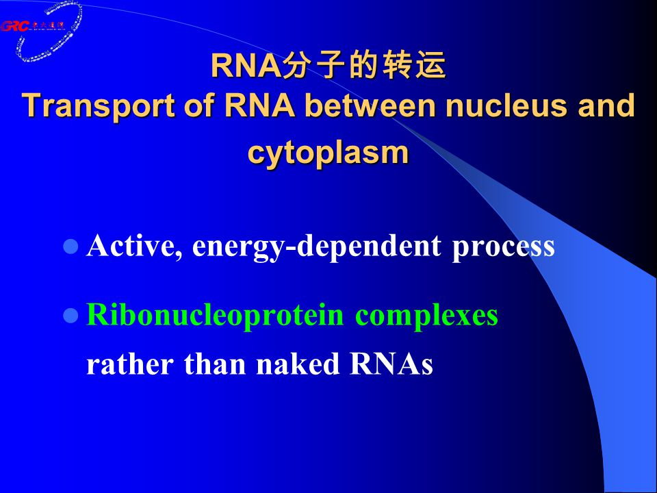 RNA 分子的转运 Transport of RNA between nucleus and cytoplasm Active, energy-dependent process Ribonucleoprotein complexes rather than naked RNAs