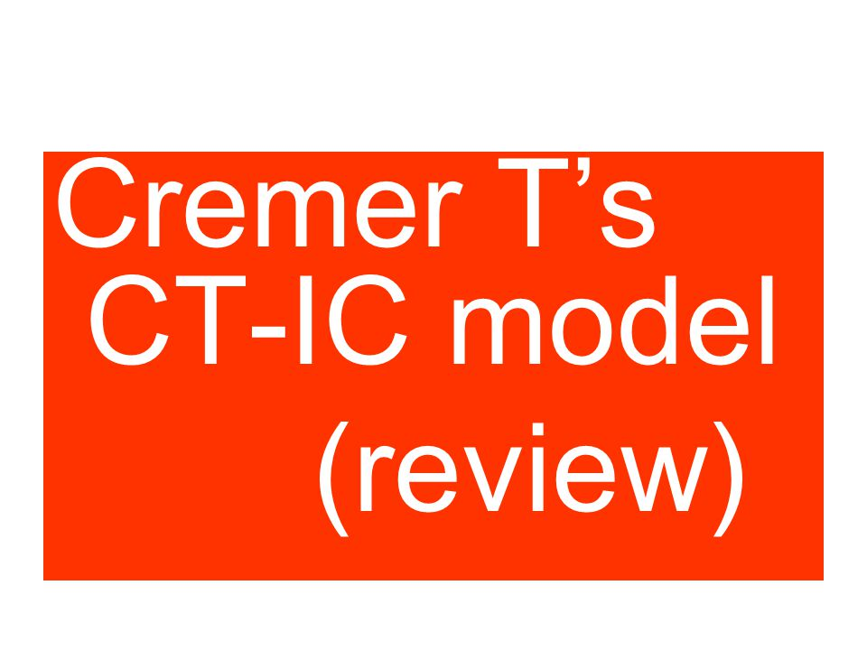 P Cook experiment Cremer T's CT-IC model (review)