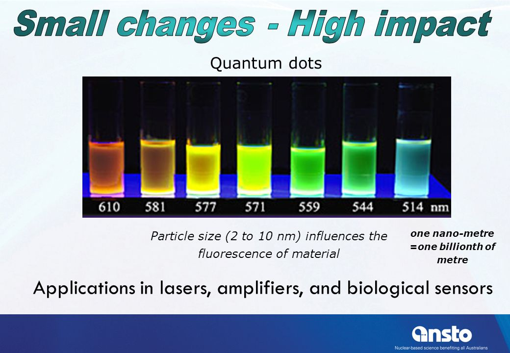 Particle size (2 to 10 nm) influences the fluorescence of material one nano-metre =one billionth of metre Quantum dots Applications in lasers, amplifiers, and biological sensors