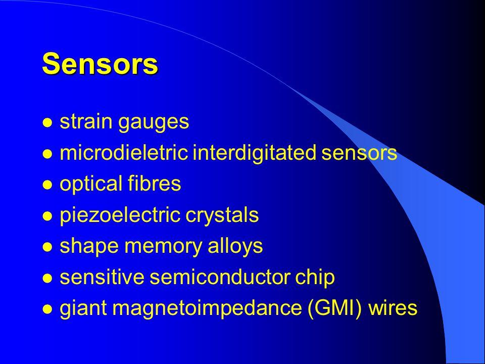 Sensors l strain gauges l microdieletric interdigitated sensors l optical fibres l piezoelectric crystals l shape memory alloys l sensitive semiconductor chip l giant magnetoimpedance (GMI) wires