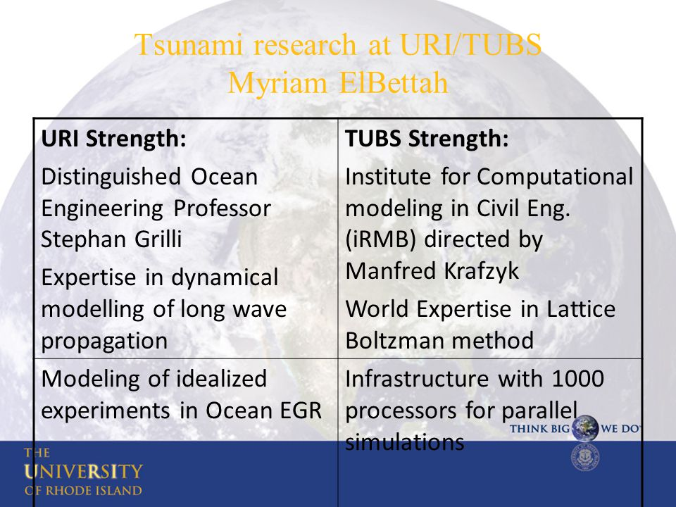 Tsunami research at URI/TUBS Myriam ElBettah URI Strength: Distinguished Ocean Engineering Professor Stephan Grilli Expertise in dynamical modelling o
