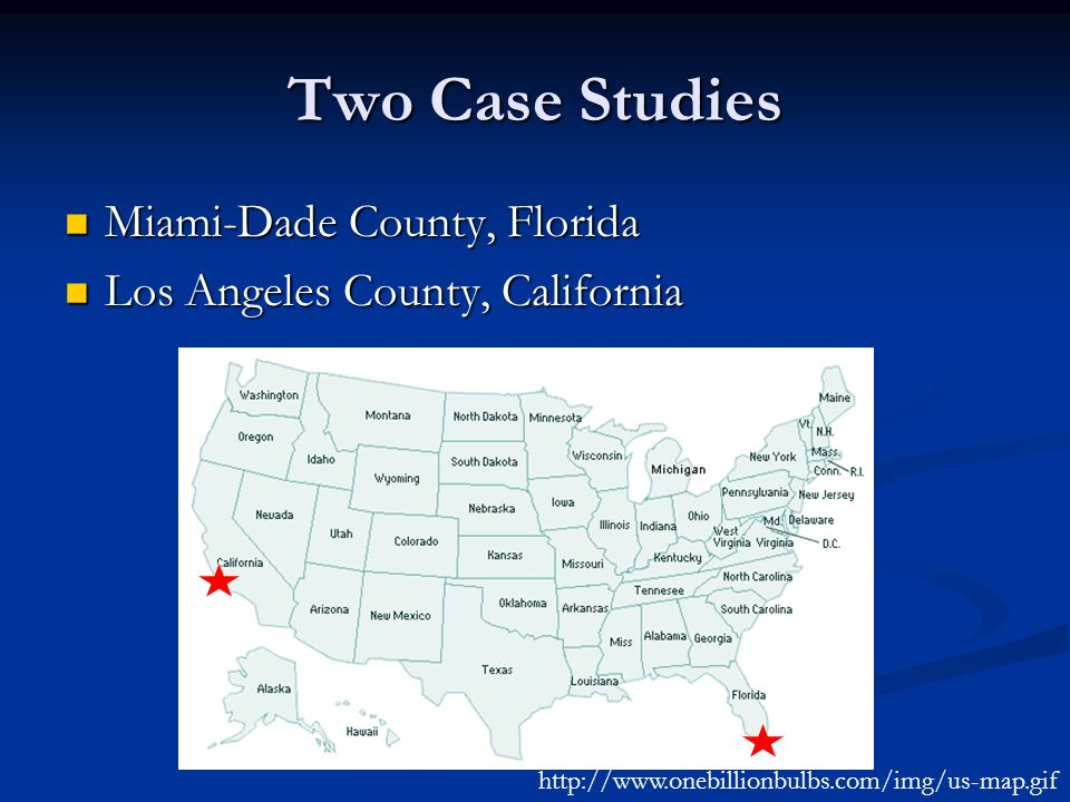 Two Case Studies Miami-Dade County, Florida Miami-Dade County, Florida Los Angeles County, California Los Angeles County, California http://www.onebillionbulbs.com/img/us-map.gif