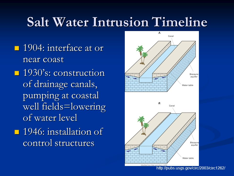 Salt Water Intrusion Timeline 1904: interface at or near coast 1904: interface at or near coast 1930's: construction of drainage canals, pumping at coastal well fields=lowering of water level 1930's: construction of drainage canals, pumping at coastal well fields=lowering of water level 1946: installation of control structures 1946: installation of control structures http://pubs.usgs.gov/circ/2003/circ1262/