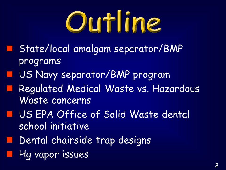 State/local amalgam separator/BMP programs US Navy separator/BMP program Regulated Medical Waste vs.