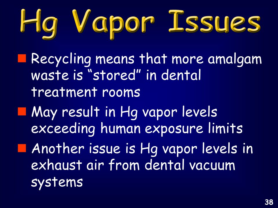 Recycling means that more amalgam waste is stored in dental treatment rooms May result in Hg vapor levels exceeding human exposure limits Another issue is Hg vapor levels in exhaust air from dental vacuum systems 38