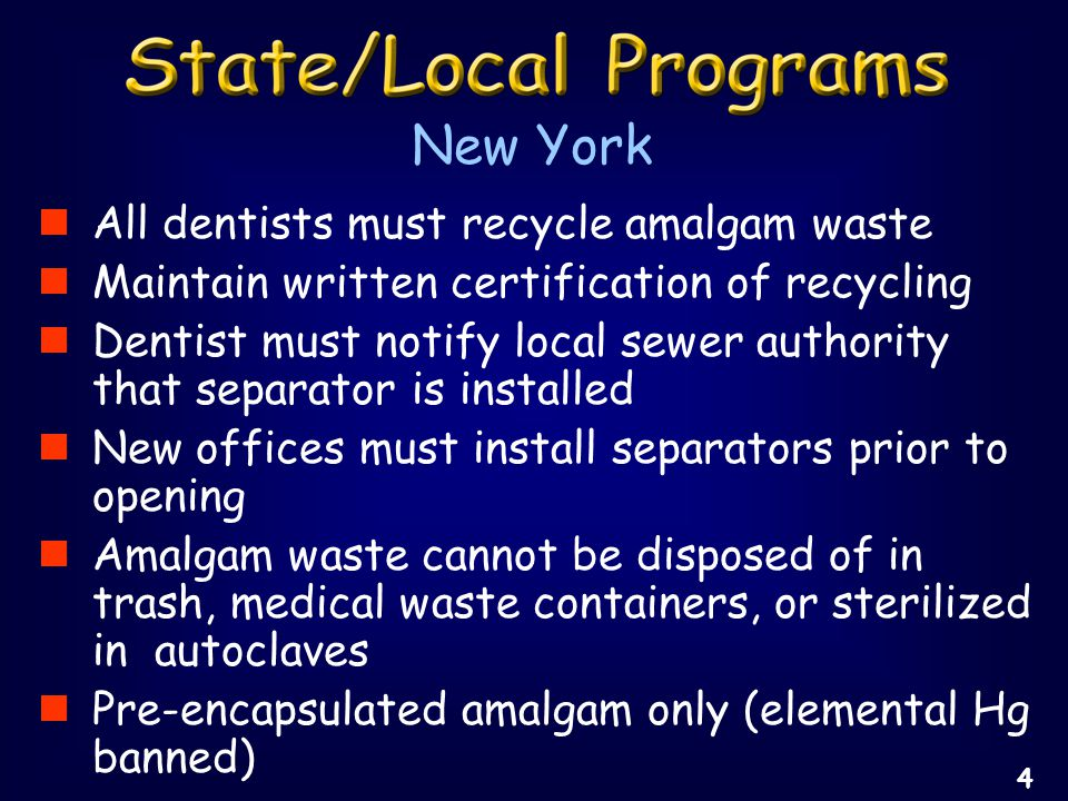 Landfills vs.Retorting Facilities Need for the disinfection of amalgam waste.