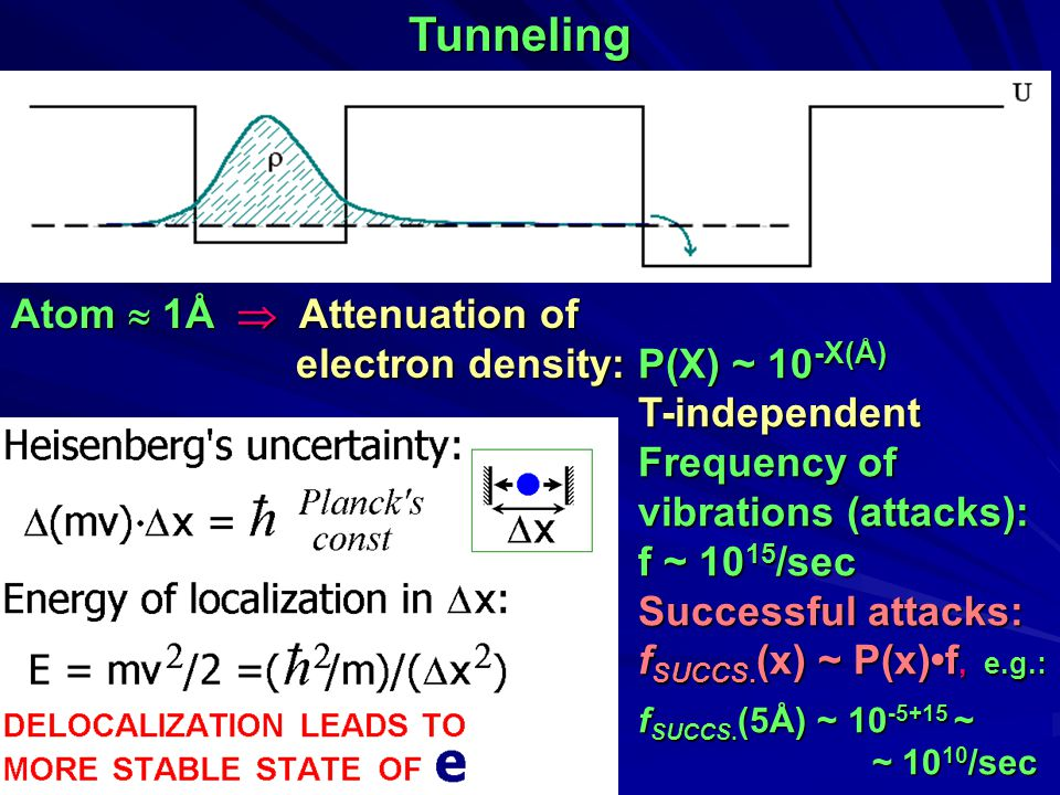 Tunneling P(X) ~ 10 -X(Å) T-independent Frequency of vibrations (attacks): f ~ 10 15 /sec Successful attacks: f SUCCS.