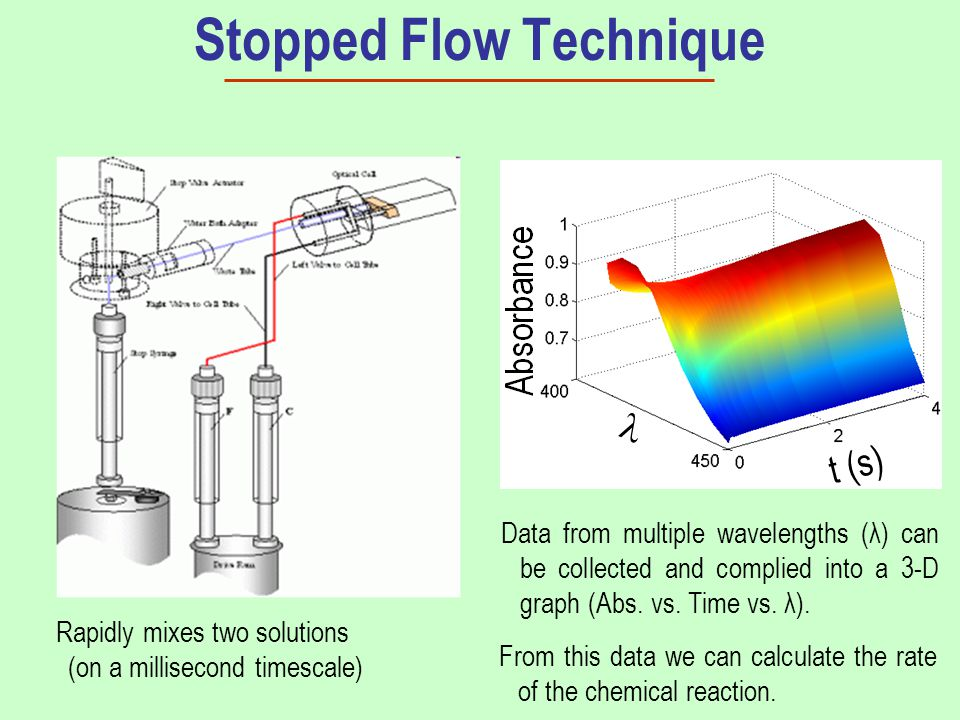 Stopped Flow Technique Data from multiple wavelengths (λ) can be collected and complied into a 3-D graph (Abs.