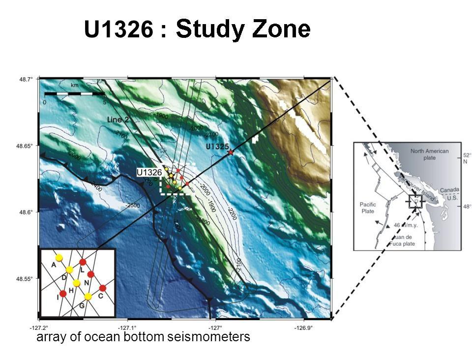 U1326 : array of ocean bottom seismometers