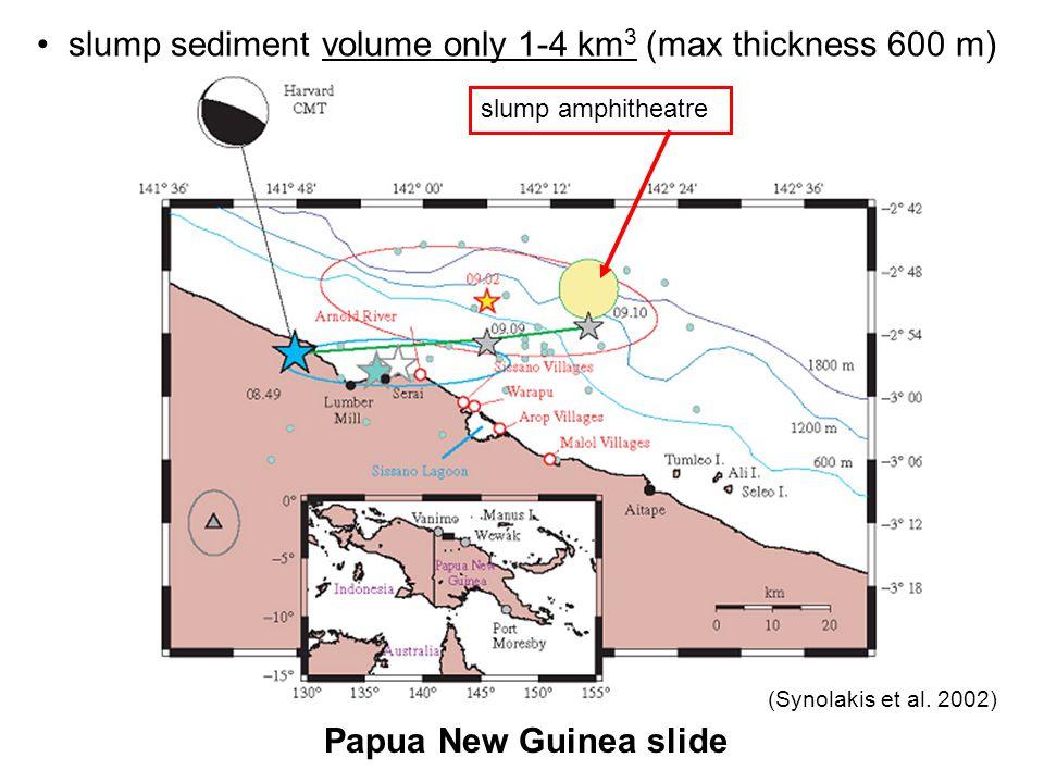 slump amphitheatre Papua New Guinea slide (Synolakis et al. 2002) slump sediment volume only 1-4 km 3 (max thickness 600 m)