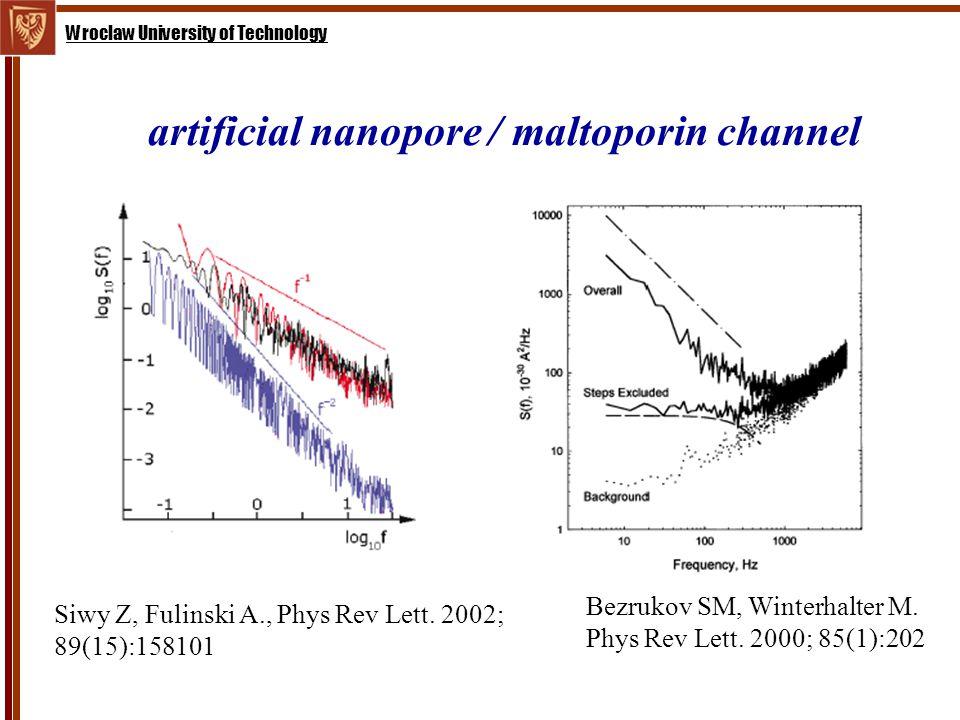 Wroclaw University of Technology artificial nanopore / maltoporin channel Siwy Z, Fulinski A., Phys Rev Lett.