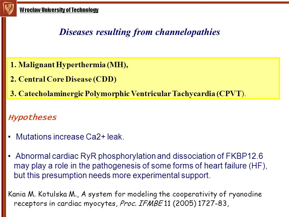 Wroclaw University of Technology Diseases resulting from channelopathies 1.