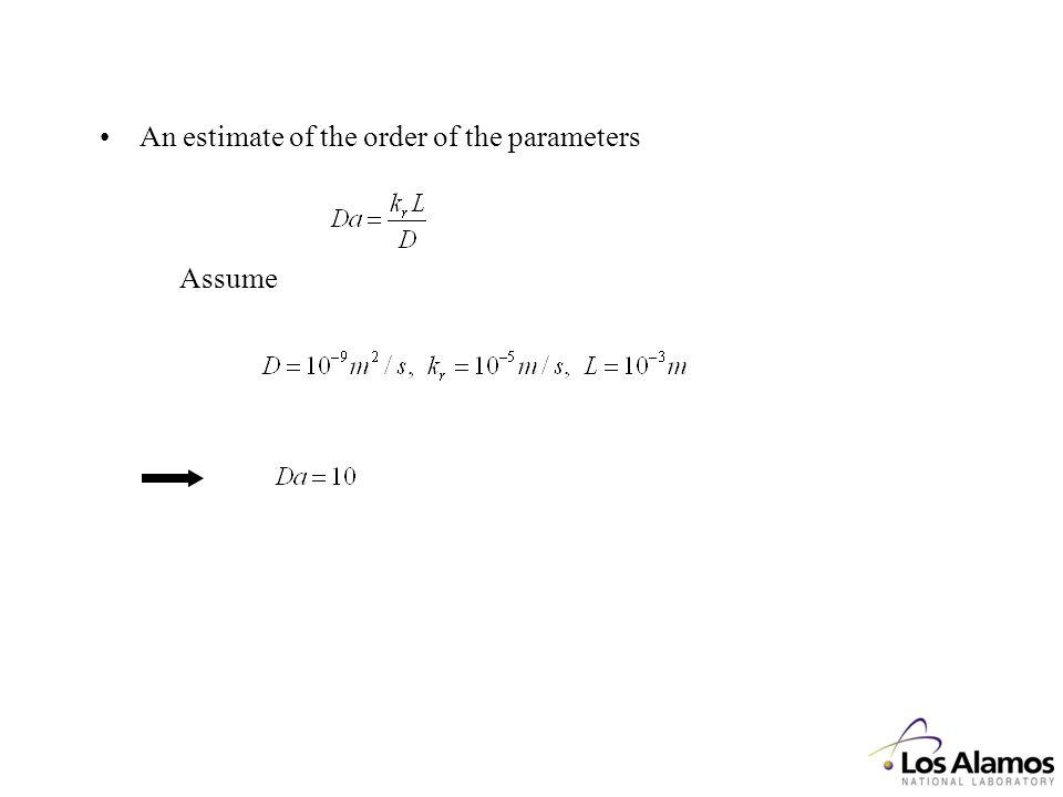 An estimate of the order of the parameters Assume