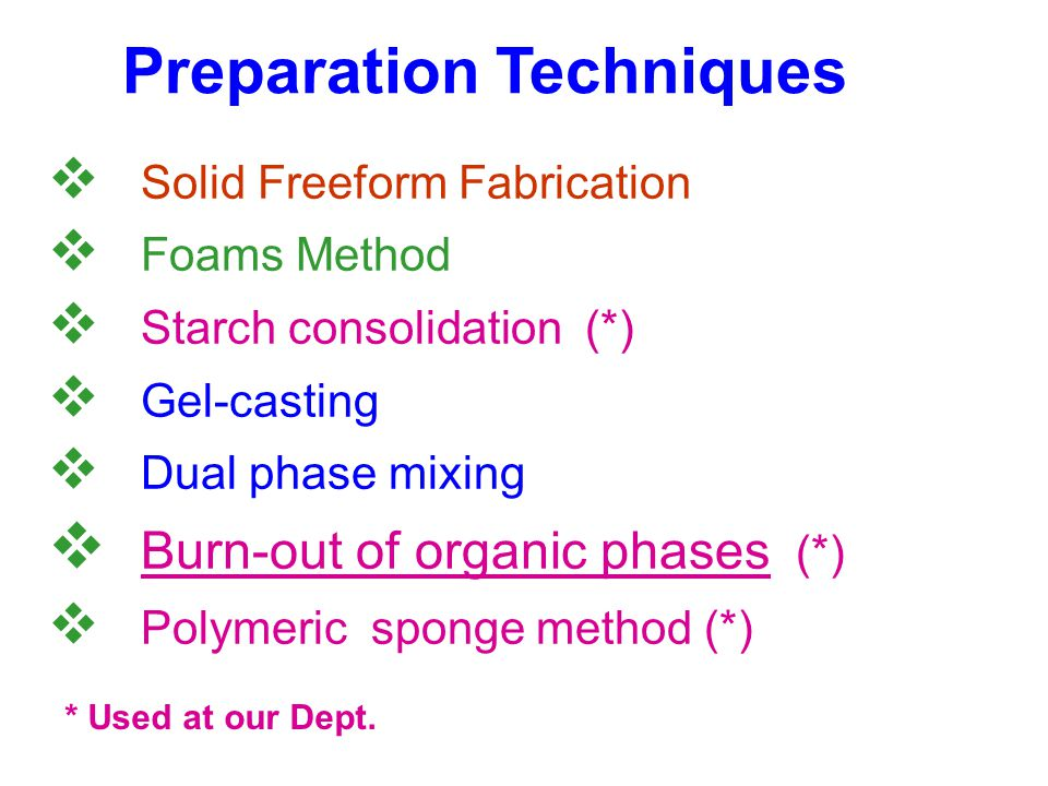 Preparation Techniques  Solid Freeform Fabrication  Foams Method  Starch consolidation (*)  Gel-casting  Dual phase mixing  Burn-out of organic phases (*)  Polymeric sponge method (*) * Used at our Dept.