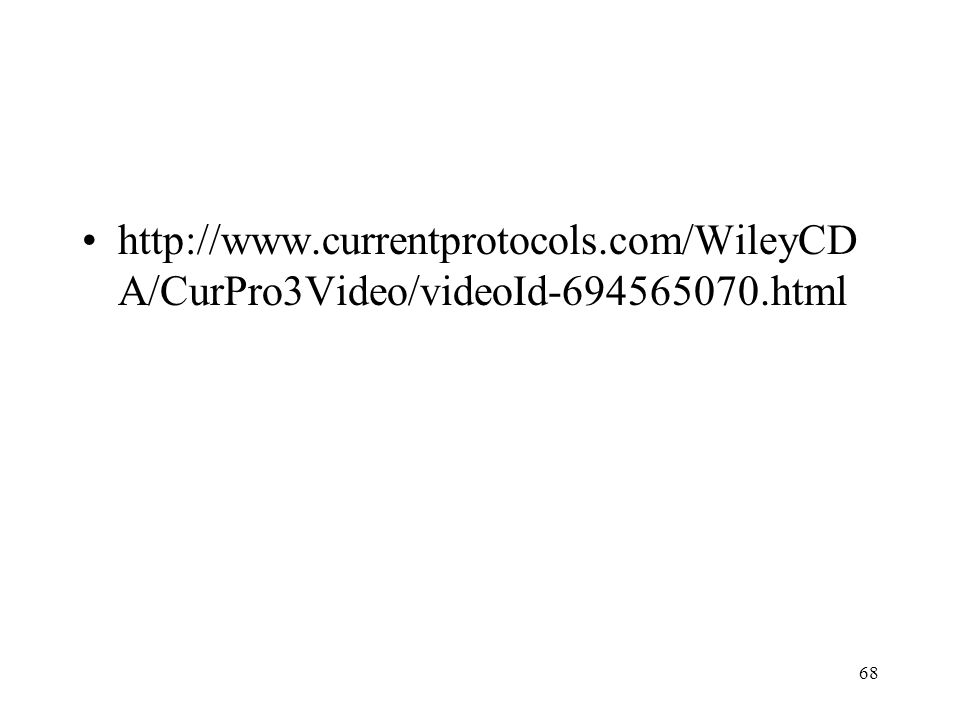 68 http://www.currentprotocols.com/WileyCD A/CurPro3Video/videoId-694565070.html