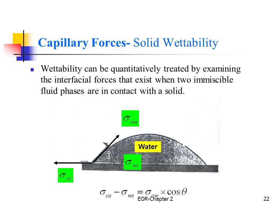 EOR-Chapter 223 Wettability Where,, = IFT's between water and oil, oil and solid, and water and solid respectively, dynes/cm., contact angle, measured through the water