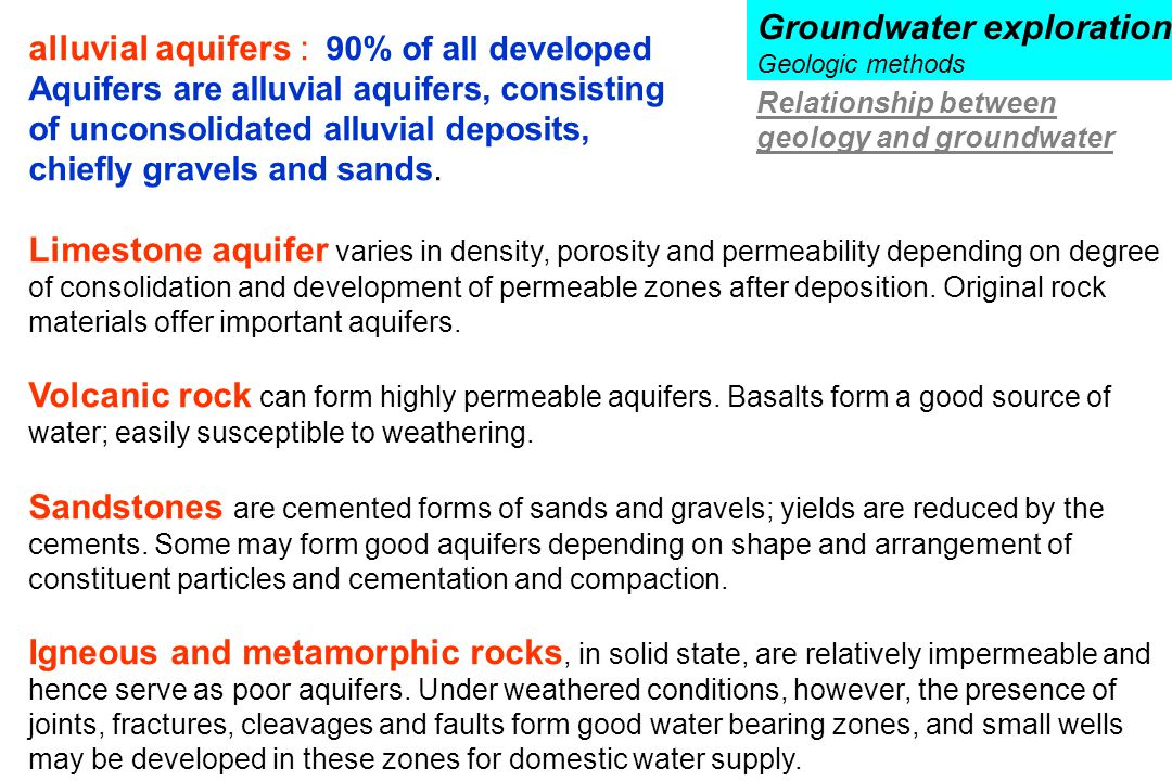 alluvial aquifers : 90% of all developed Aquifers are alluvial aquifers, consisting of unconsolidated alluvial deposits, chiefly gravels and sands. Li