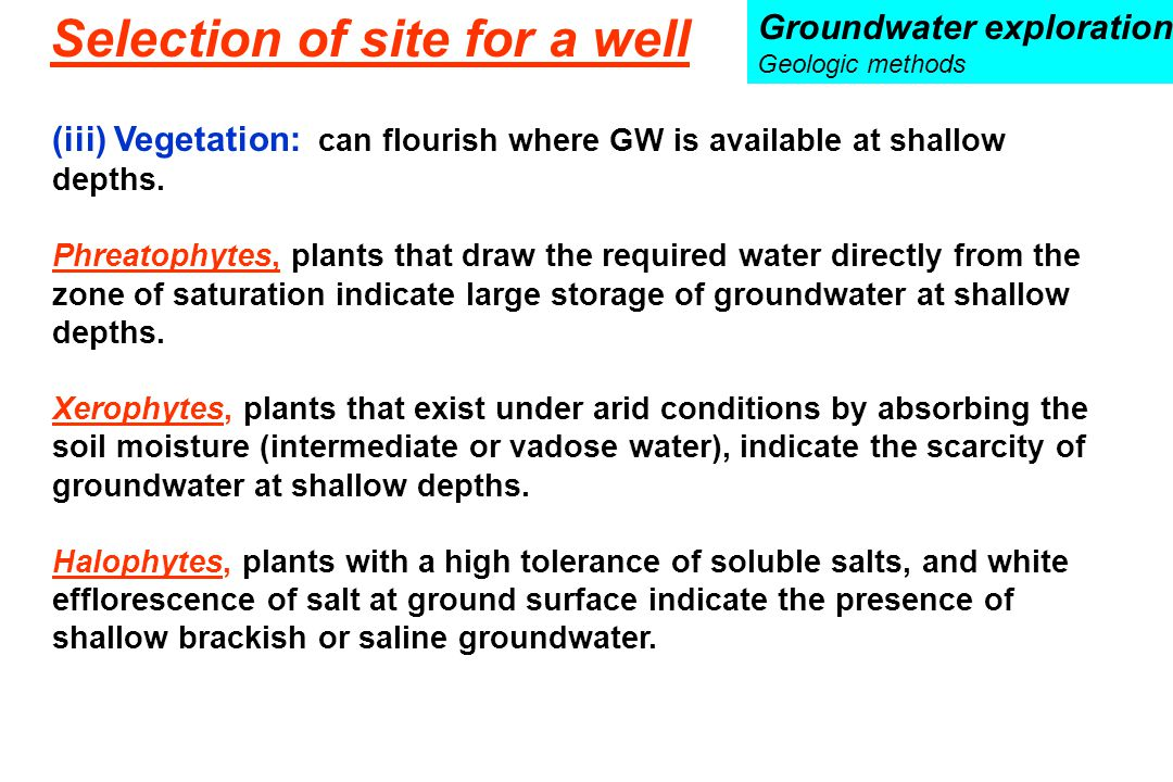 (iii) Vegetation: can flourish where GW is available at shallow depths. Phreatophytes, plants that draw the required water directly from the zone of s