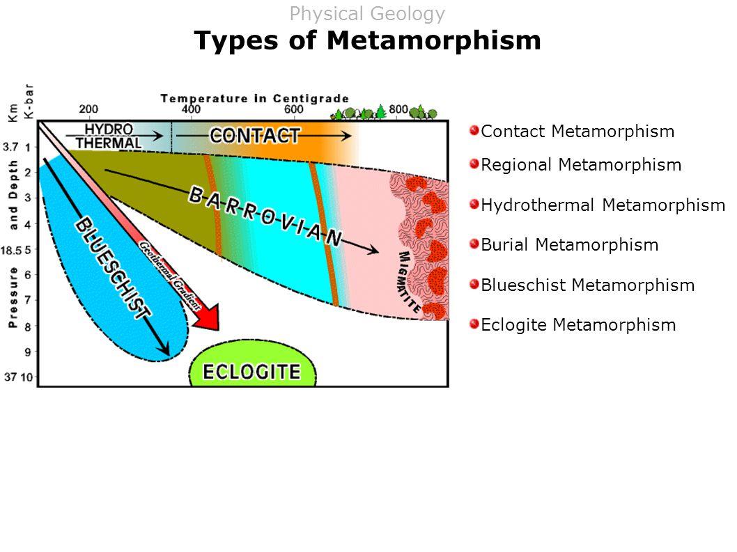 Types of Metamorphism Contact Metamorphism Regional Metamorphism Hydrothermal Metamorphism Burial Metamorphism Blueschist Metamorphism Eclogite Metamorphism Physical Geology
