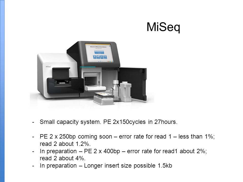 MiSeq -Small capacity system.PE 2x150cycles in 27hours.