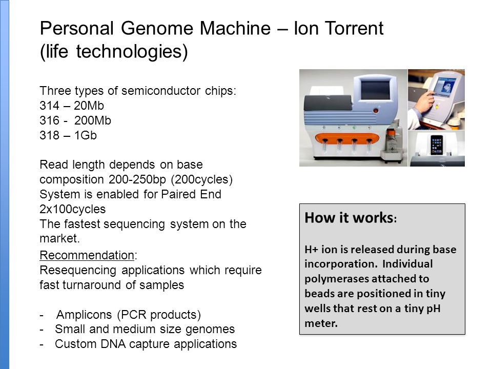 Personal Genome Machine – Ion Torrent (life technologies) Three types of semiconductor chips: 314 – 20Mb 316 - 200Mb 318 – 1Gb Read length depends on base composition 200-250bp (200cycles) System is enabled for Paired End 2x100cycles The fastest sequencing system on the market.
