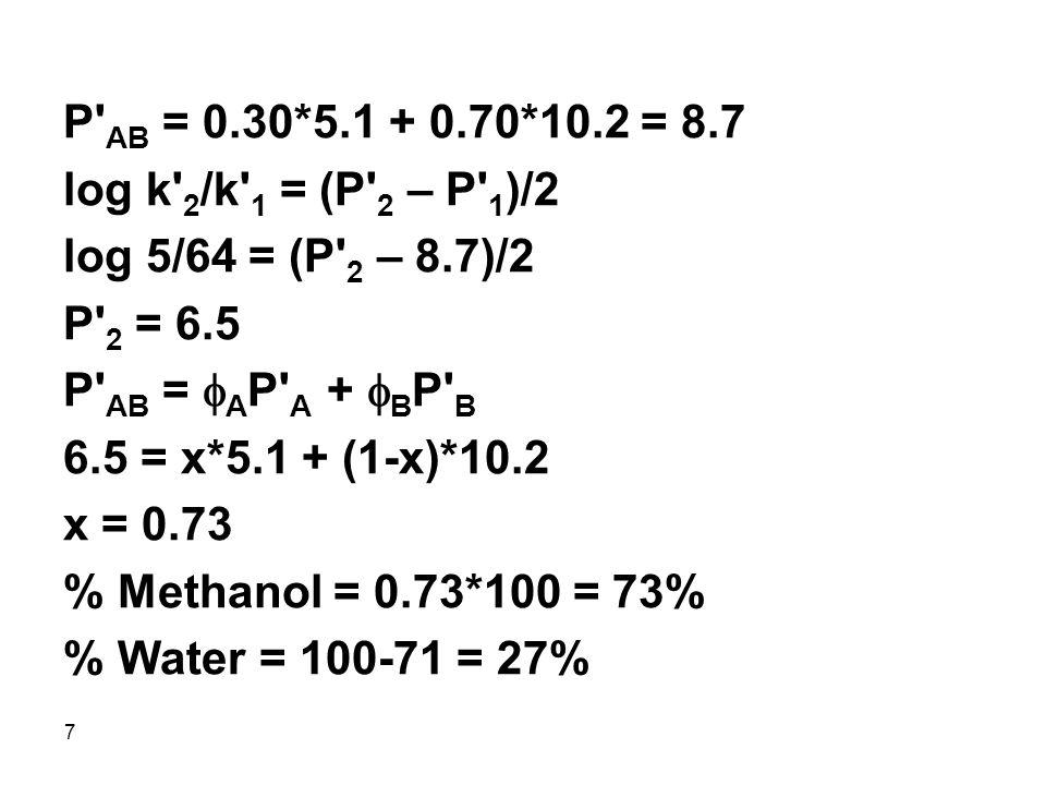 7 P AB = 0.30*5.1 + 0.70*10.2 = 8.7 log k 2 /k 1 = (P 2 – P 1 )/2 log 5/64 = (P 2 – 8.7)/2 P 2 = 6.5 P AB =  A P A +  B P B 6.5 = x*5.1 + (1-x)*10.2 x = 0.73 % Methanol = 0.73*100 = 73% % Water = 100-71 = 27%