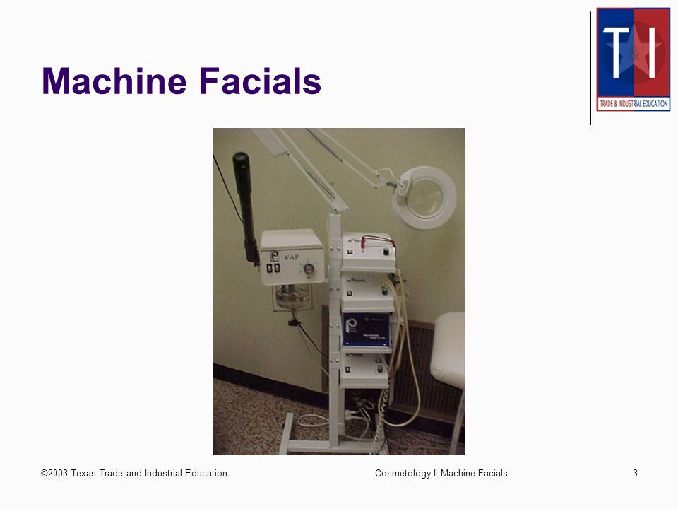 ©2003 Texas Trade and Industrial EducationCosmetology I: Machine Facials2 Electrotherapy Facial treatments using electrical facial machines & small el