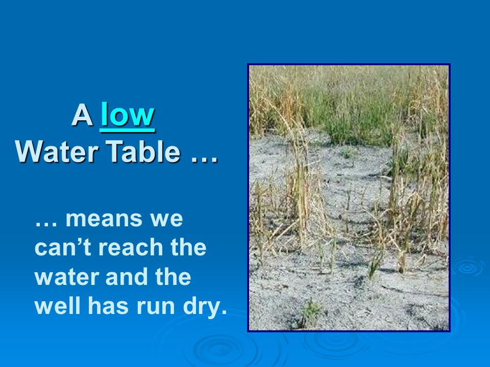 … means we can't reach the water and the well has run dry. A low Water Table …