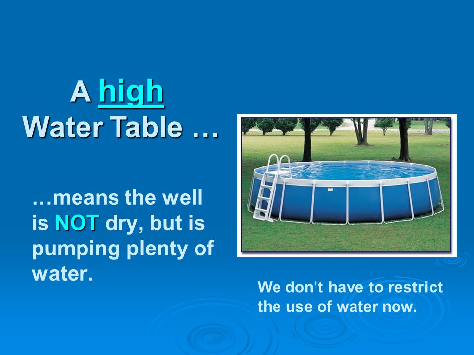 NOT …means the well is NOT dry, but is pumping plenty of water.