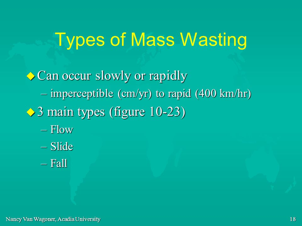 Nancy Van Wagoner, Acadia University 18 Types of Mass Wasting u Can occur slowly or rapidly –imperceptible (cm/yr) to rapid (400 km/hr) u 3 main types