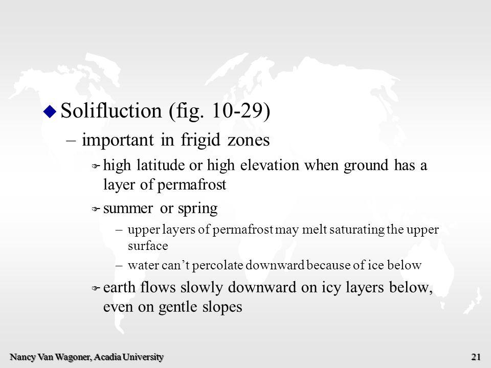 Nancy Van Wagoner, Acadia University 21 u u Solifluction (fig. 10-29) – –important in frigid zones F F high latitude or high elevation when ground has