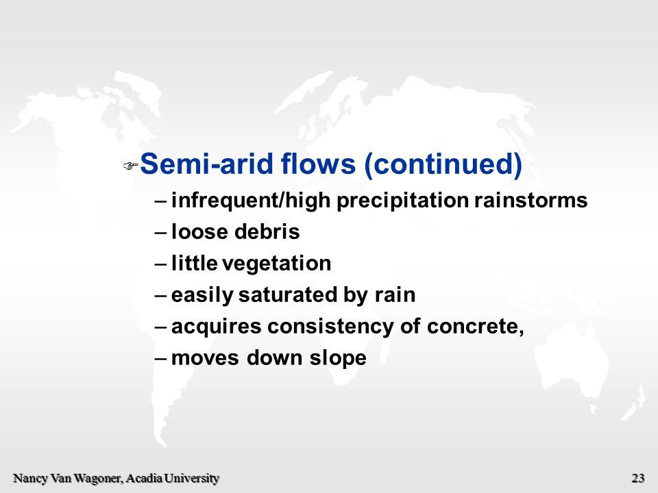 Nancy Van Wagoner, Acadia University 23   Semi-arid flows (continued) – –infrequent/high precipitation rainstorms – –loose debris – –little vegetati