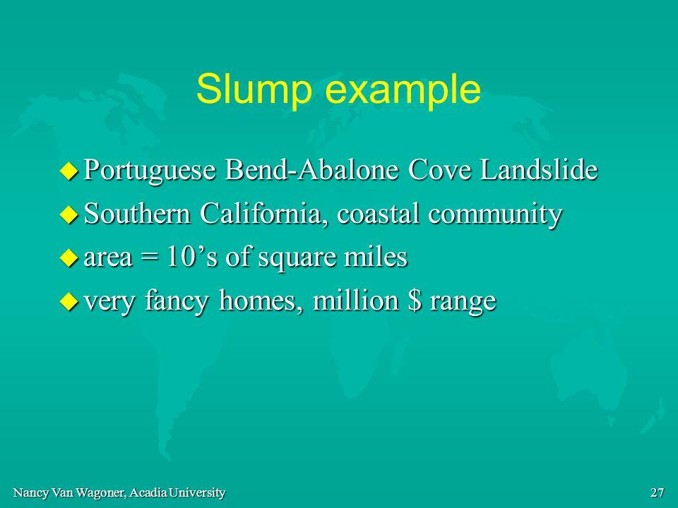 Nancy Van Wagoner, Acadia University 27 Slump example u Portuguese Bend-Abalone Cove Landslide u Southern California, coastal community u area = 10's