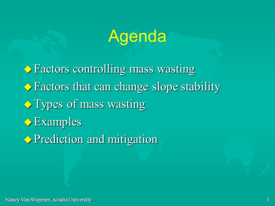 Nancy Van Wagoner, Acadia University 3 Agenda u Factors controlling mass wasting u Factors that can change slope stability u Types of mass wasting u E