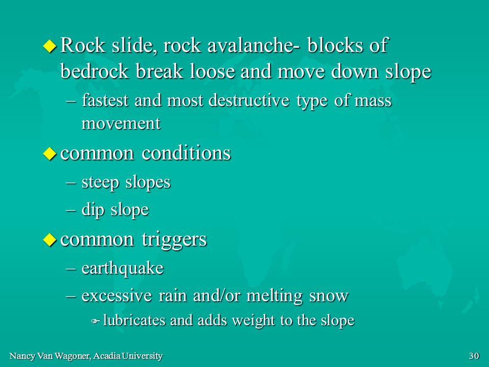 Nancy Van Wagoner, Acadia University 30 u Rock slide, rock avalanche- blocks of bedrock break loose and move down slope –fastest and most destructive
