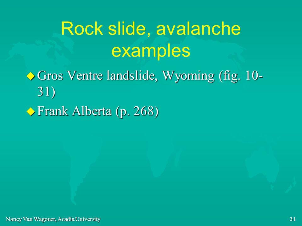 Nancy Van Wagoner, Acadia University 31 Rock slide, avalanche examples u Gros Ventre landslide, Wyoming (fig. 10- 31) u Frank Alberta (p. 268)