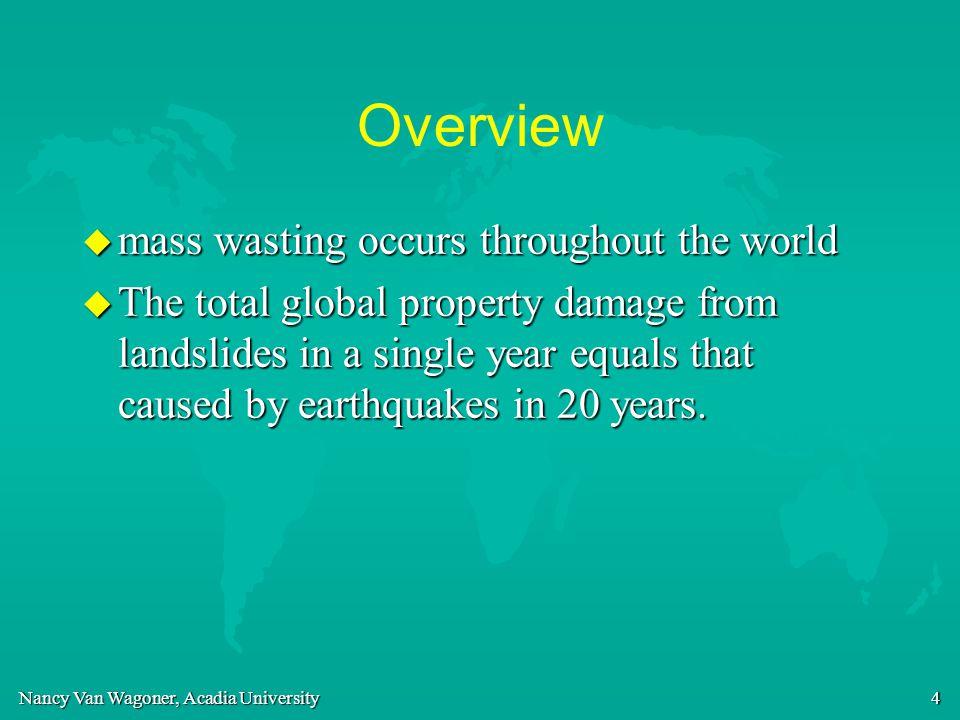 Nancy Van Wagoner, Acadia University 25 Landslides - two types u slump u rock slide, or rock avalanche