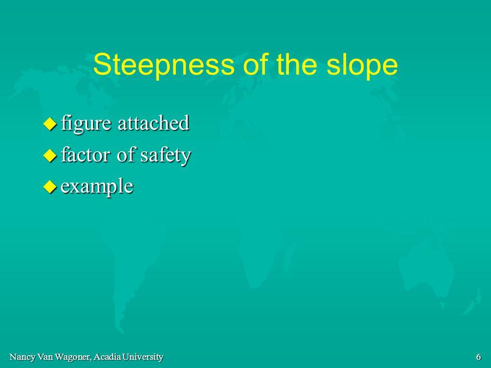 Nancy Van Wagoner, Acadia University 6 Steepness of the slope u figure attached u factor of safety u example