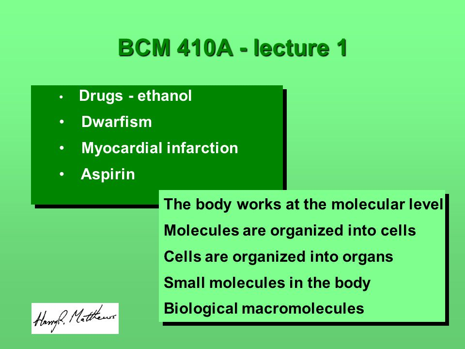 Drugs - ethanol Dwarfism Myocardial infarction Aspirin Drugs - ethanol Dwarfism Myocardial infarction Aspirin BCM 410A - lecture 1 The body works at the molecular level Molecules are organized into cells Cells are organized into organs Small molecules in the body Biological macromolecules