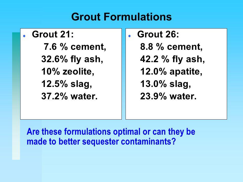 Grout Formulations l Grout 21: 7.6 % cement, 32.6% fly ash, 10% zeolite, 12.5% slag, 37.2% water.