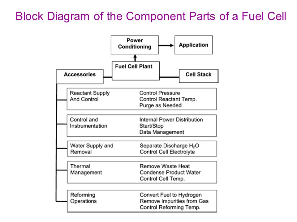Block Diagram of the Component Parts of a Fuel Cell