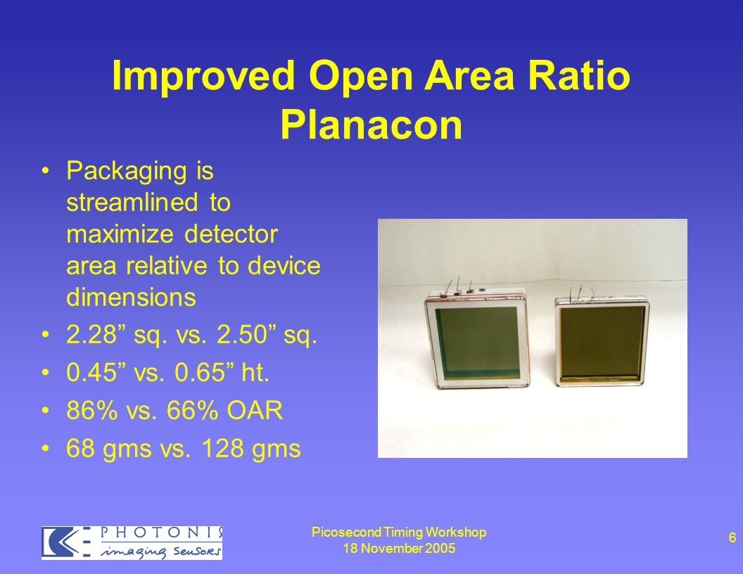 Picosecond Timing Workshop 18 November 2005 6 Improved Open Area Ratio Planacon Packaging is streamlined to maximize detector area relative to device dimensions 2.28 sq.