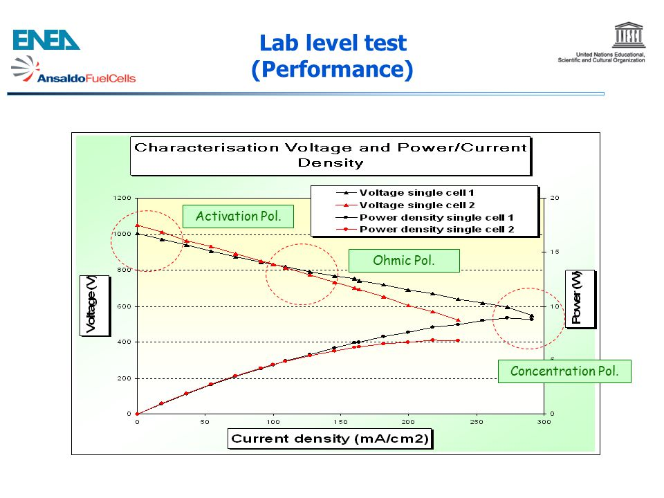Lab level test (Performance) Activation Pol. Ohmic Pol. Concentration Pol.