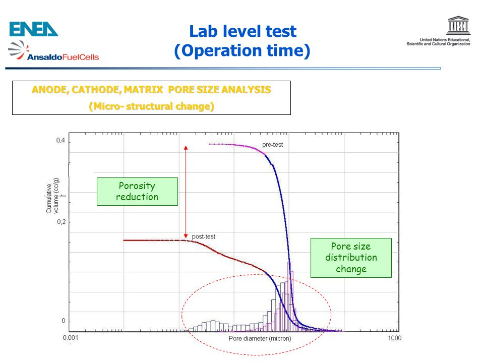 ANODE, CATHODE, MATRIX PORE SIZE ANALYSIS (Micro- structural change) Lab level test (Operation time) Porosity reduction Pore size distribution change