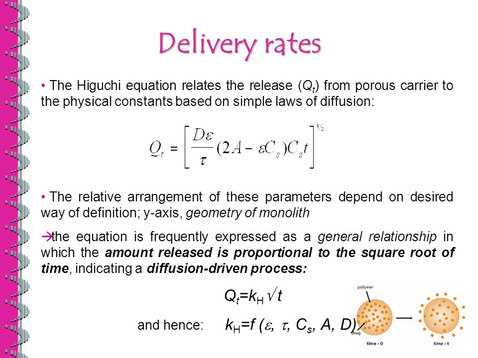 The Higuchi equation relates the release (Q t ) from porous carrier to the physical constants based on simple laws of diffusion: The relative arrangement of these parameters depend on desired way of definition; y-axis, geometry of monolith  the equation is frequently expressed as a general relationship in which the amount released is proportional to the square root of time, indicating a diffusion-driven process: Q t =k H  t and hence: k H =f ( , , C s, A, D) Delivery rates