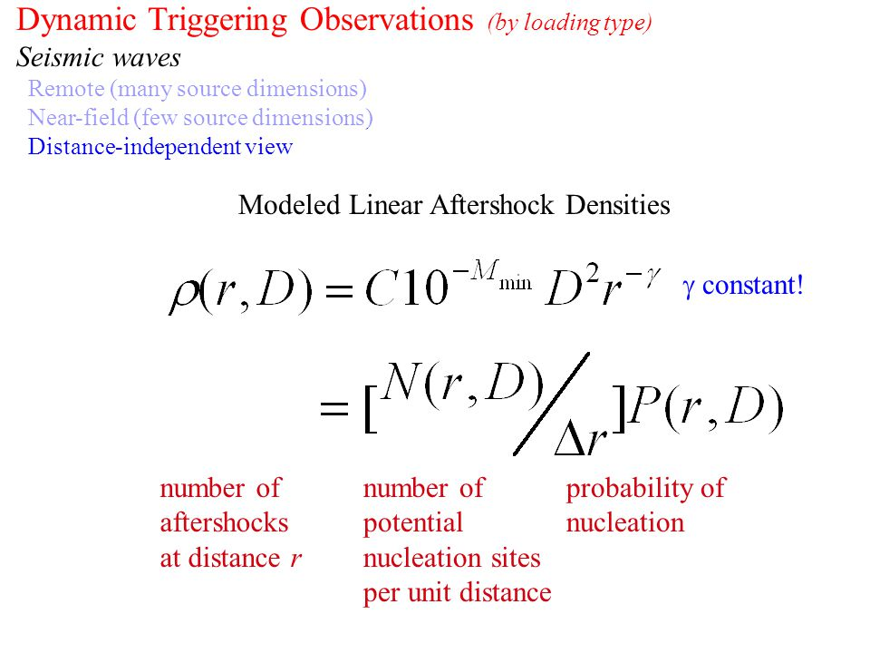 Dynamic Triggering Observations (by loading type) Seismic waves Remote (many source dimensions) Near-field (few source dimensions) Distance-independen