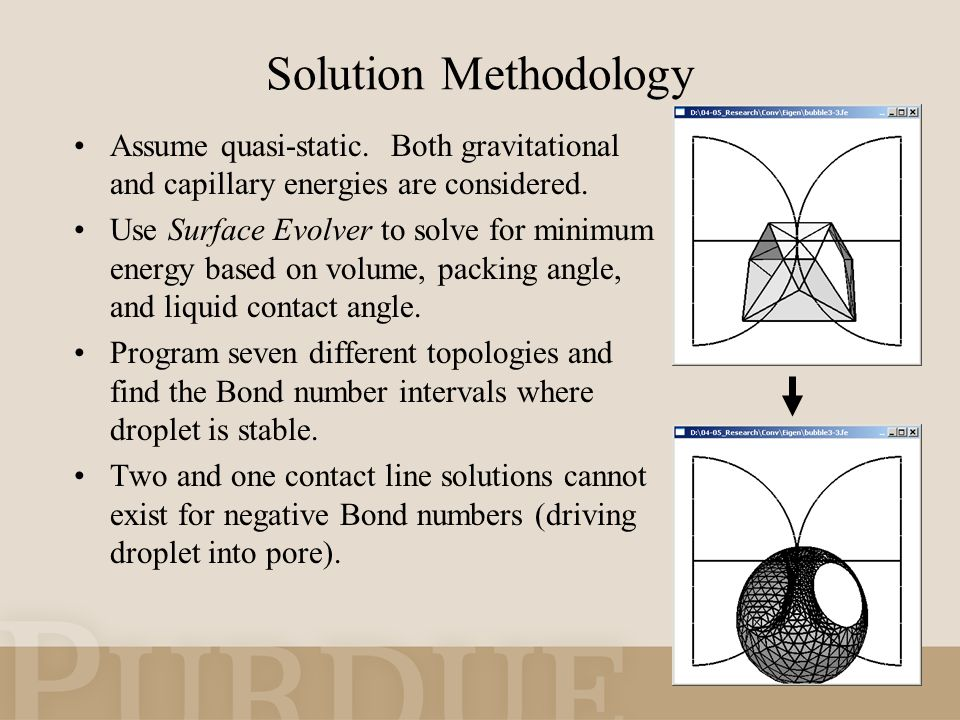 Solution Methodology Assume quasi-static. Both gravitational and capillary energies are considered.