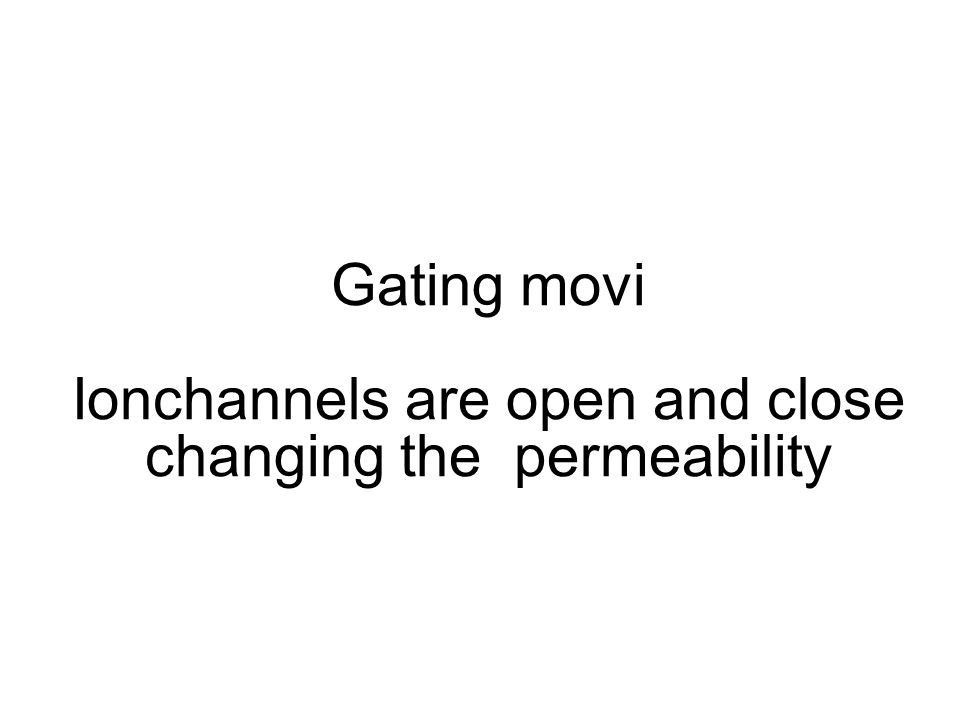 Gating movi Ionchannels are open and close changing the permeability